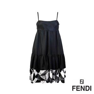 FENDI Black Silk Sequin Embellished Dress - RARE